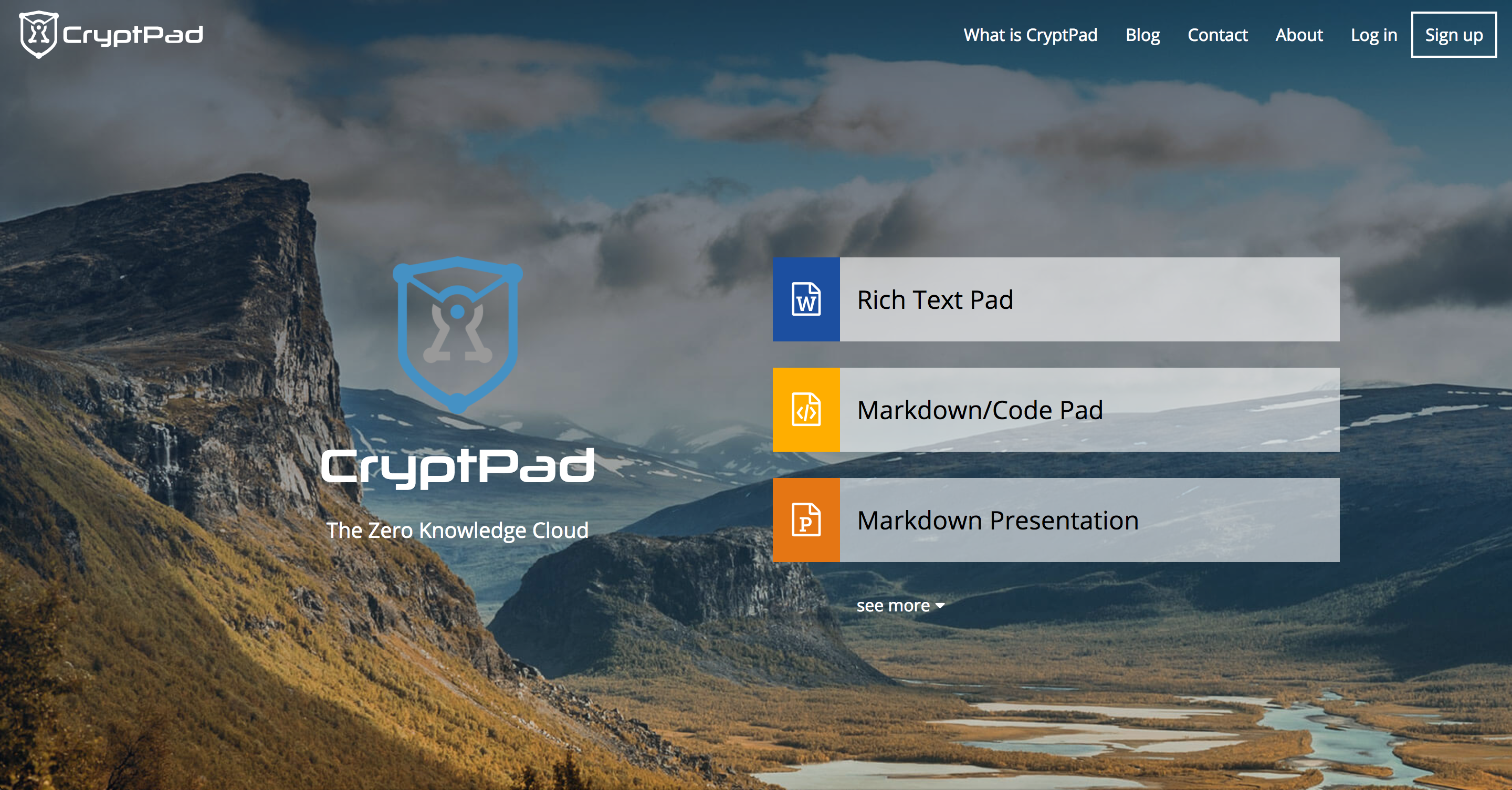 New CryptPad Main Page