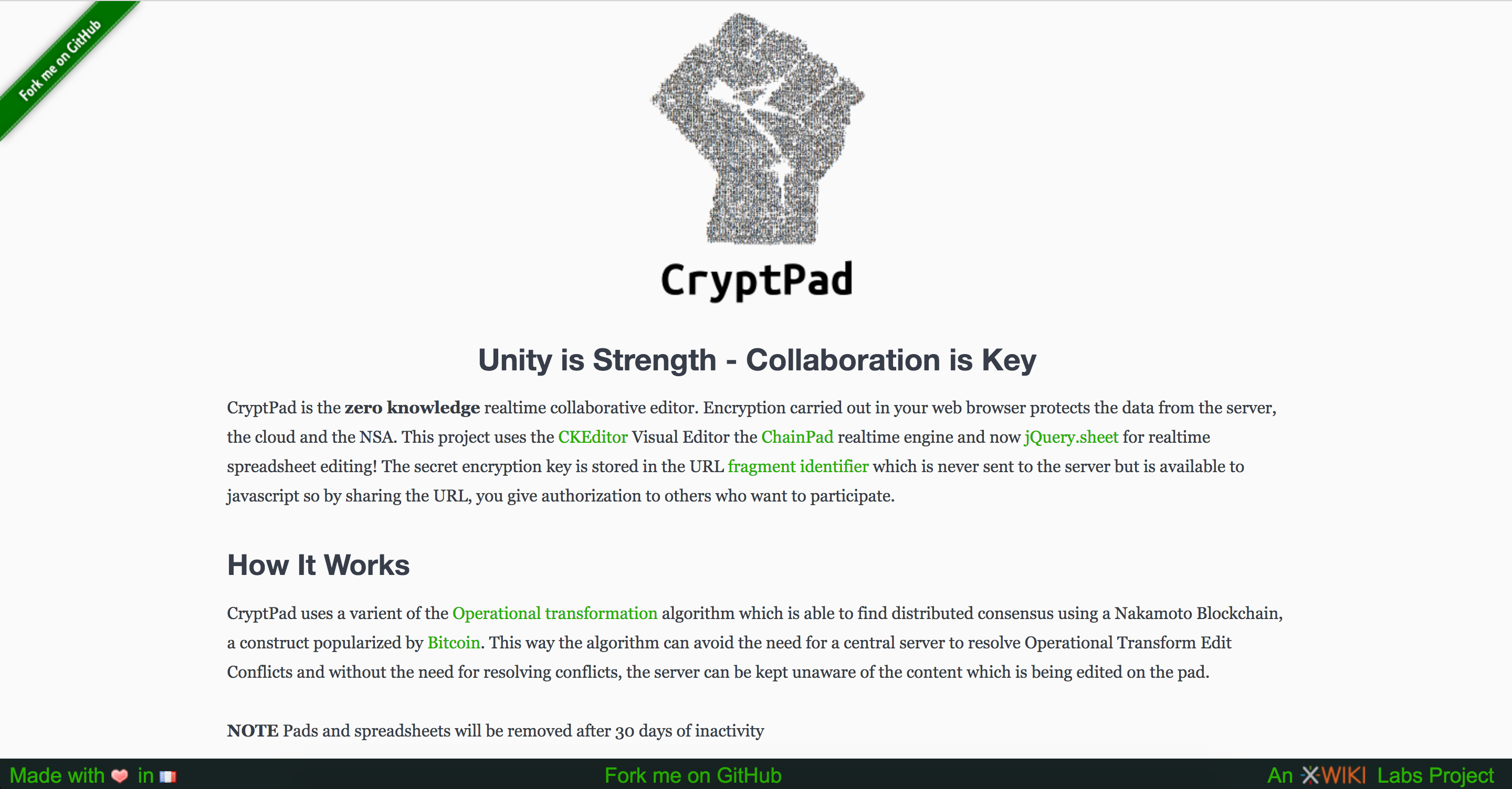 Old CryptPad Main Page